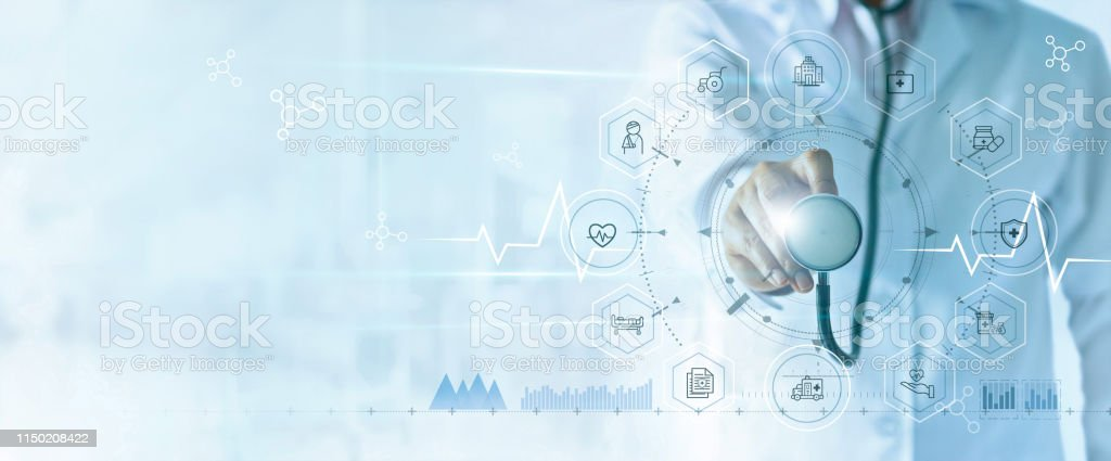 Medicine doctor with stethoscope in hand and icon insurance for health. Medical network connection on virtual screen interface. Innovation and modern medical technology concept - Стоковые фото Анализировать роялти-фри
