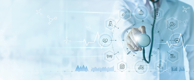 istock Medicine doctor with stethoscope in hand and icon insurance for health. Medical network connection on virtual screen interface. Innovation and modern medical technology concept 1150208422