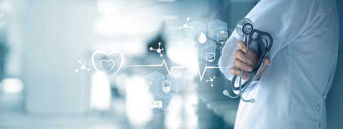 927897070 istock photo Medicine doctor with stethoscope in hand and icon medical network connection on  virtual screen interface. Modern medical technology and innovation concept 914796308
