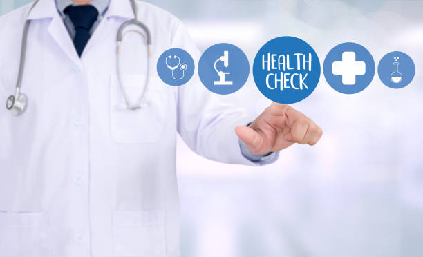 health check medicine doctor working with computer interface as medical - screening stock photos and pictures