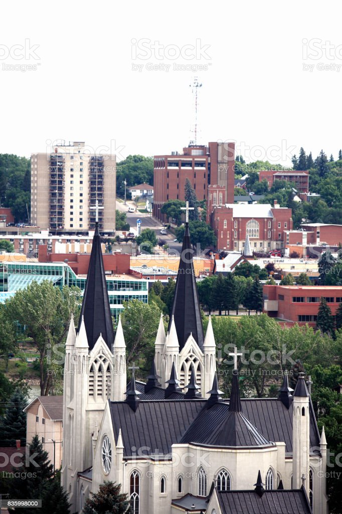 Medicine Hat Alberta Downtown Skyline With Catholic Church stock photo