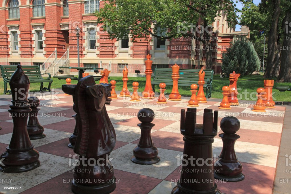 Medicine Hat Alberta Guiness World Record Chess Set stock photo