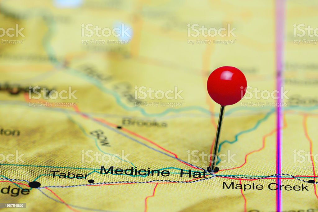 Medicine Hat pinned on a map of Canada stock photo