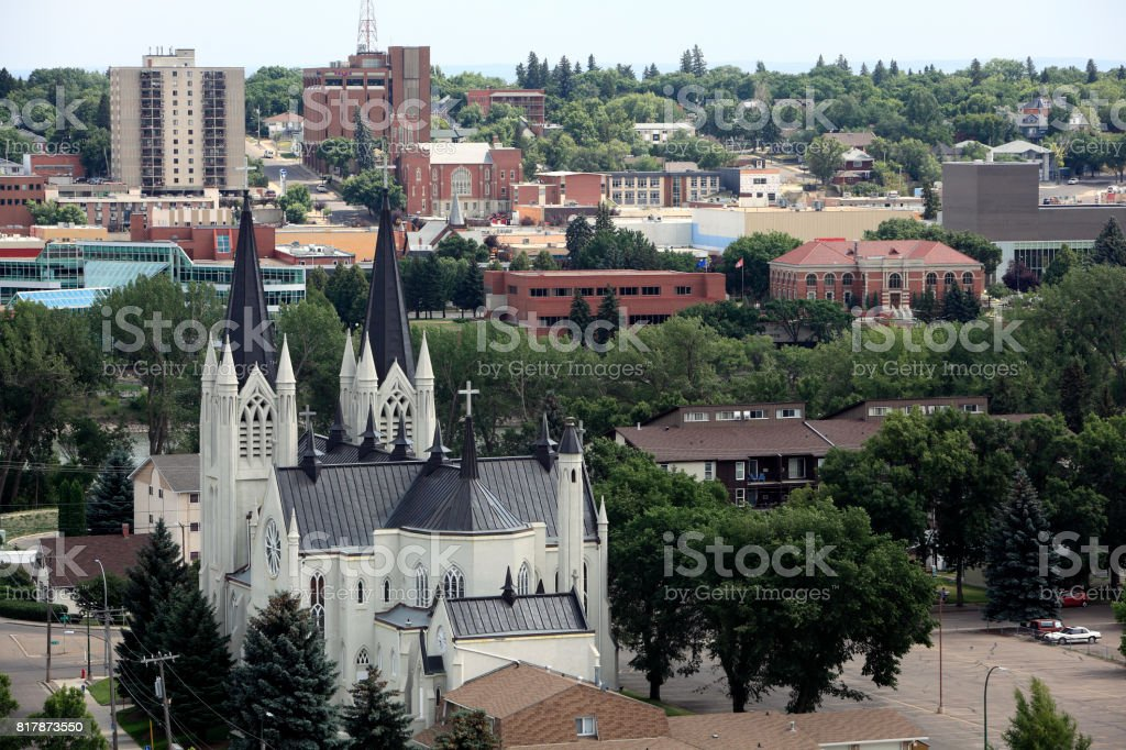 Medicine Hat With All It's Historic Brick Buildings And Churches stock photo