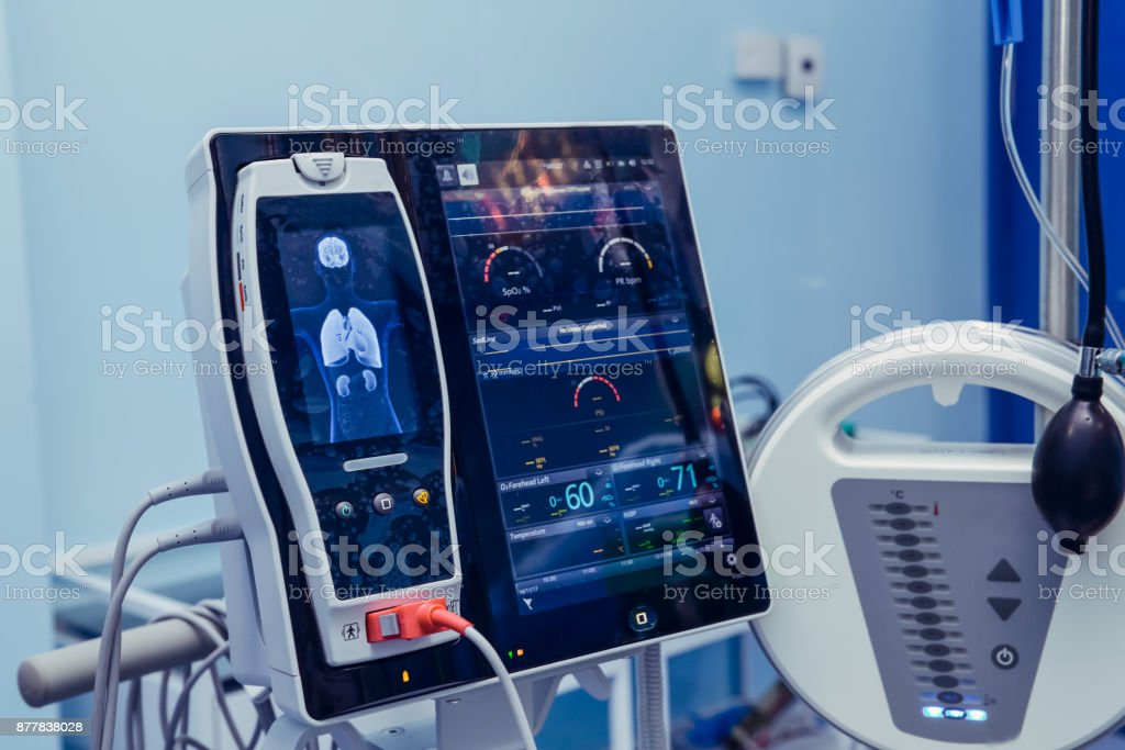 Medicine, health care, emergency and medical equipment concept - extracorporeal life support machine at operating room. Modern heart, brain, kidneys Screening Examinations. Selective focus stock photo