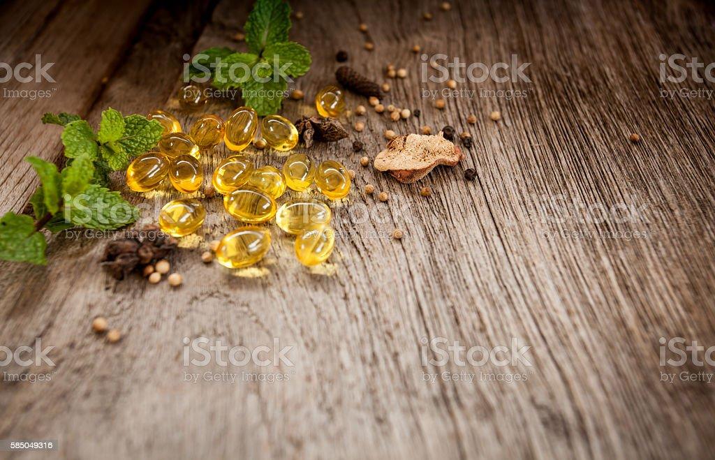 Medicine herb, Cod liver oil omega 3 gel capsules stock photo