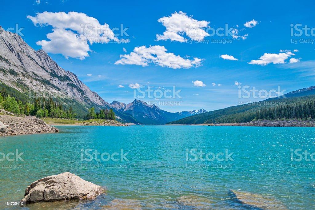 Medicine Lake at Rocky mountains stock photo