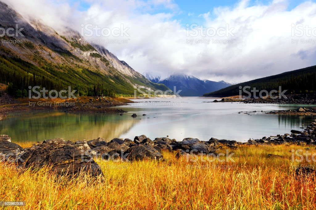 Medicine Lake in Jasper National Park,Alberta,Canada stock photo