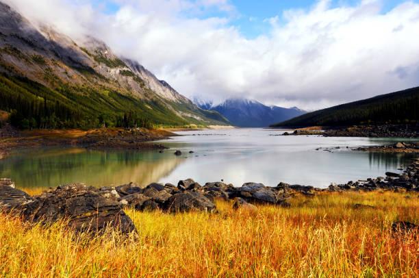 Medicine Lake in Jasper National Park,Alberta,Canada stock photo