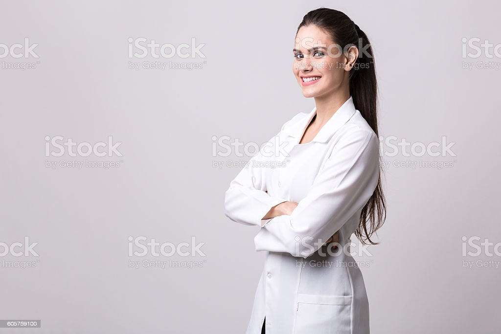 Medicine, pharmacy, health care and pharmacology concept, girl stock photo