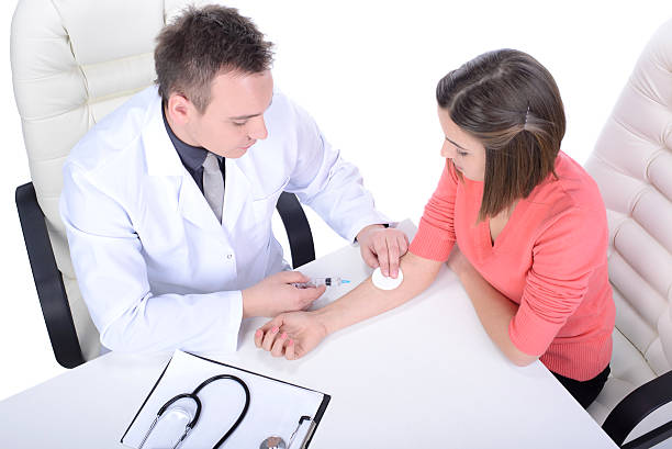 Medicine Doctor and patient, isolated over white background anemia stock pictures, royalty-free photos & images