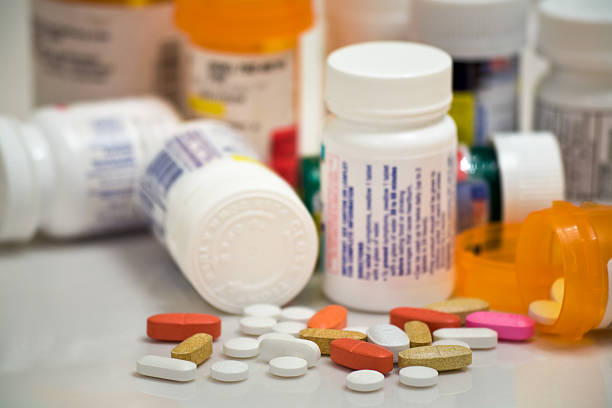 medicine pills and bottles stock photo