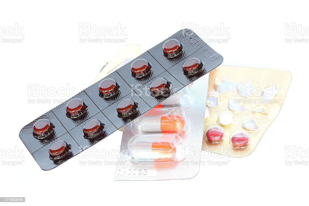 Medicine pills and capsules packed in blisters royalty-free stock photo