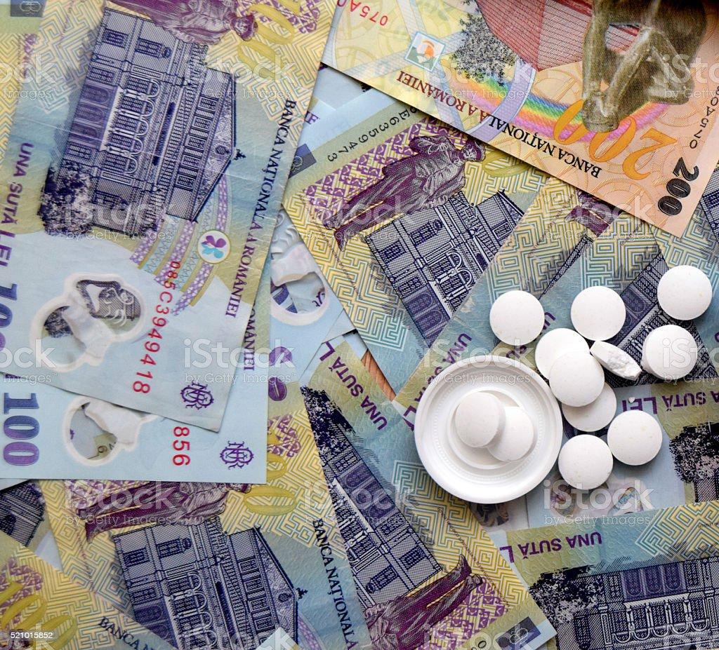 medicine pills in bottles High Cost of Healthcare stock photo