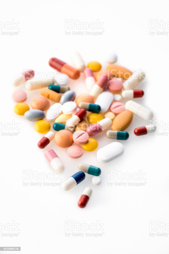 Medicine Pills Isolated on a white background stock photo