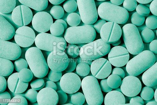 Green Toned Medicine Tablets.