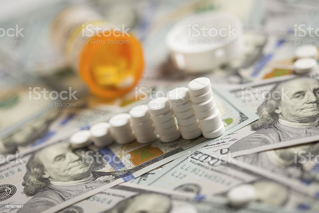 Medicine Pills Stacked on Newly Designed One Hundred Dollar Bill stock photo