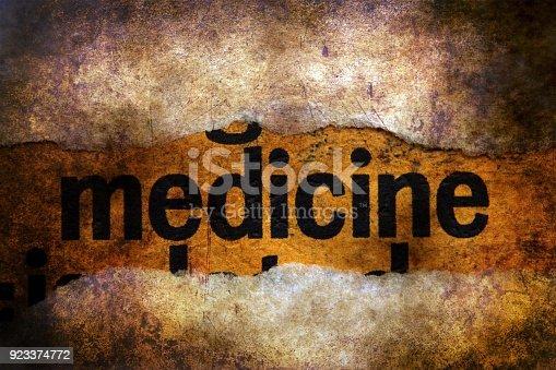 istock Medicine text on grunge background 923374772