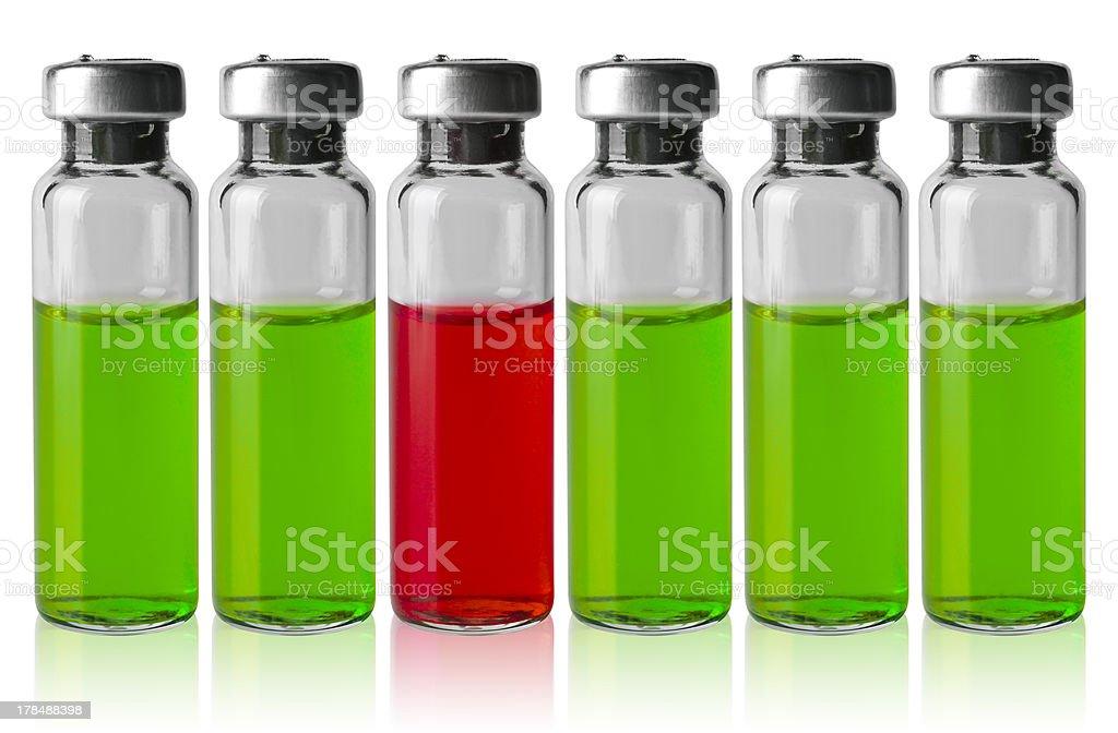Medicine vials in a row royalty-free stock photo
