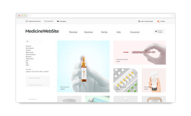 Medicine webstore site template mock up isolated stock photo