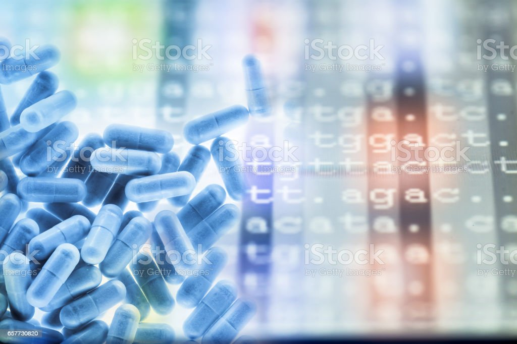 medicine with DNA code stock photo