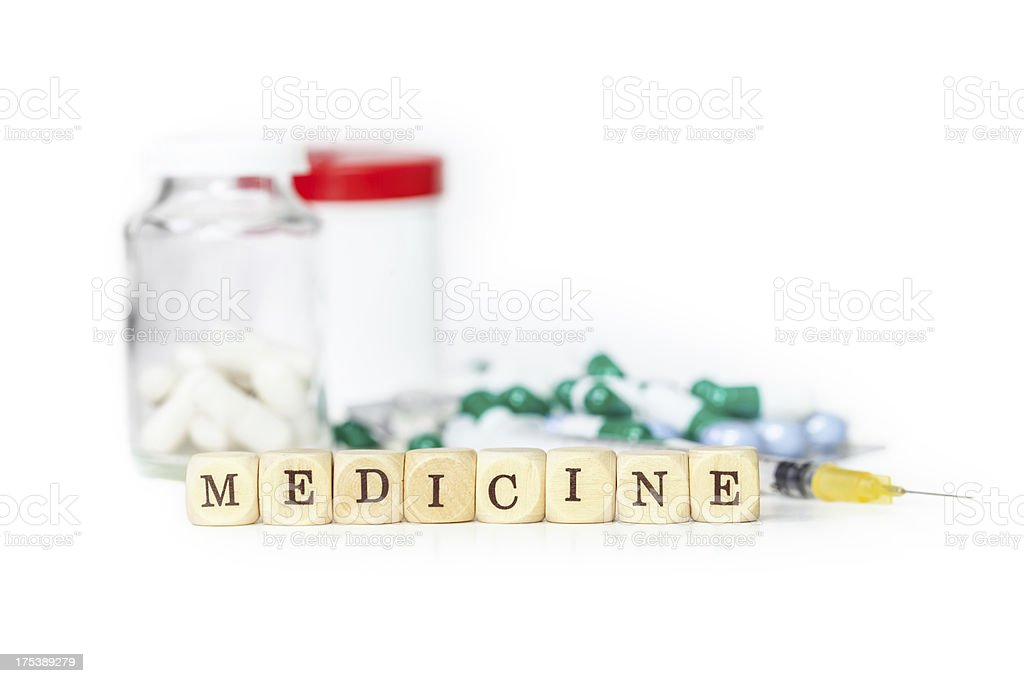 Medicine with letters royalty-free stock photo