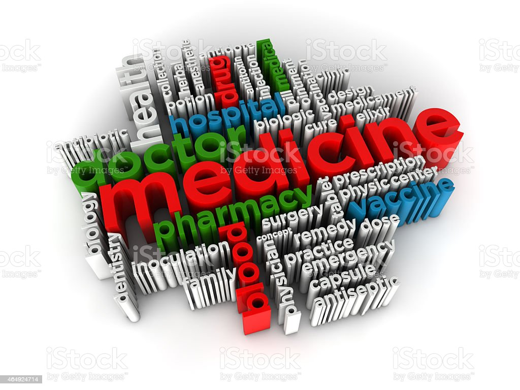 Medicine word cloud 3d render stock photo