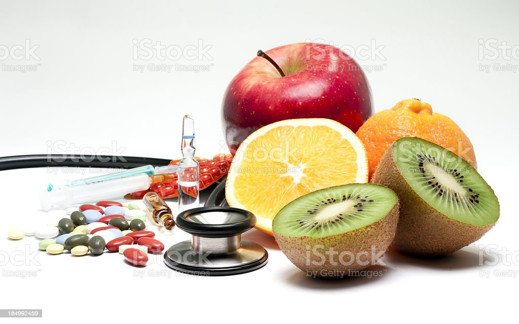 medicines and fruit royalty-free stock photo