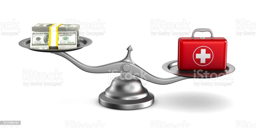 Medikamente und Geld auf Skalen. Isolierte 3D-Illustration – Foto