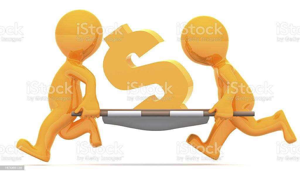 Medics carrying dollar currency sign. Conceptual economic illustration. royalty-free stock photo