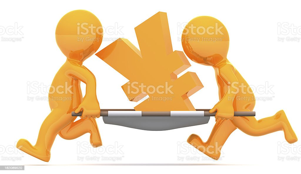 Medics carrying yen currency sign. Conceptual economic illustration. royalty-free stock photo