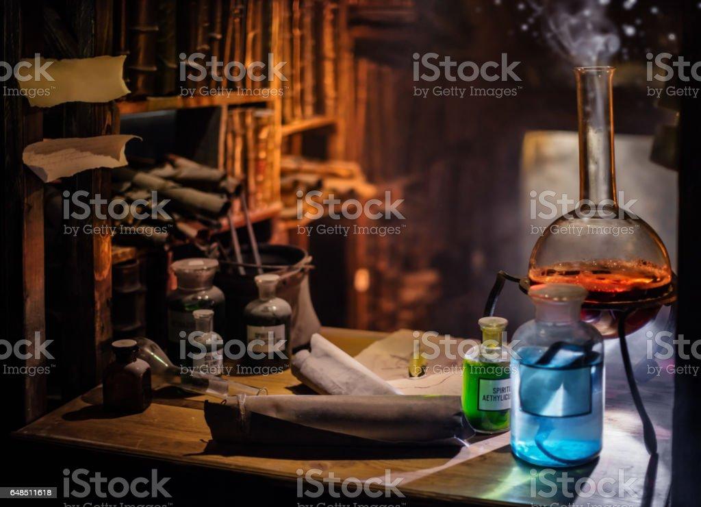 Medieval alchemist laboratory stock photo
