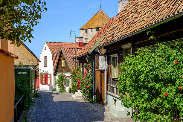 Medieval alley in historic Hanse town Visby stock photo