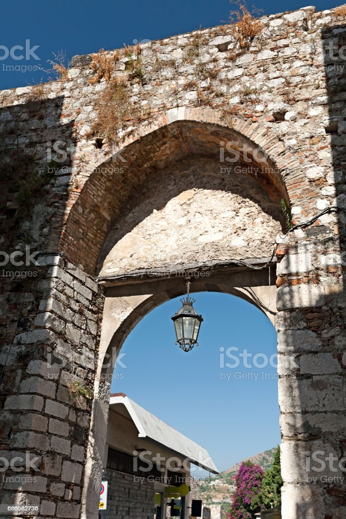 Medieval arch in Taormina, Sicily, Italy royalty-free stock photo