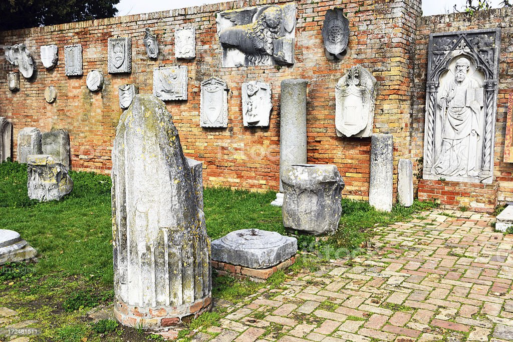 Medieval architecural fragments on Torcello, Italy stock photo