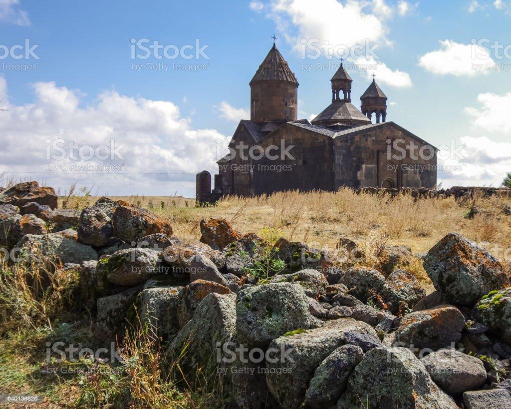 Medieval armenian monastery Saghmosavank stock photo