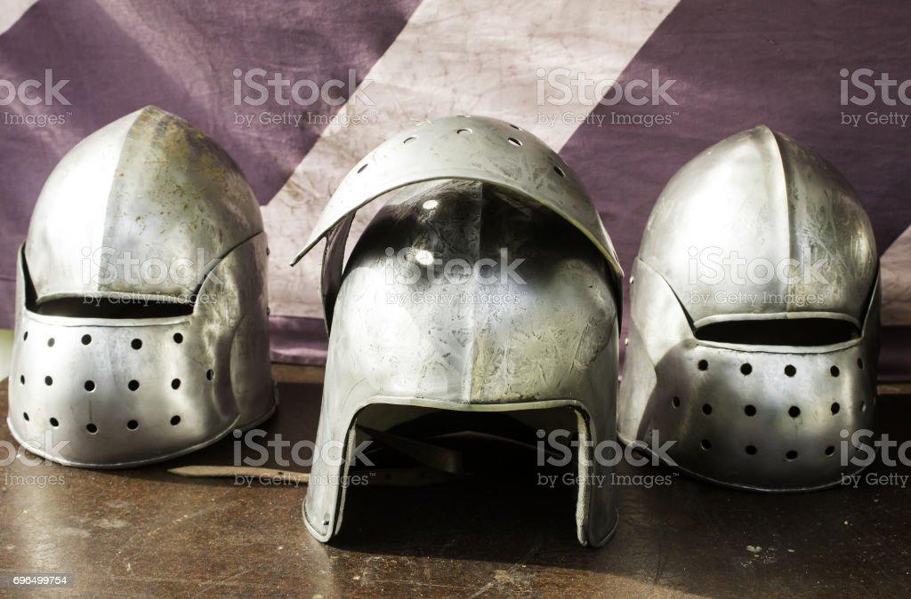 Medieval armor helmet stock photo