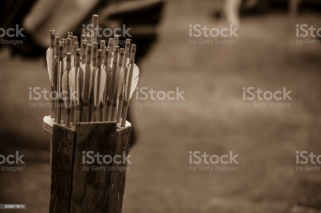 Medieval Arrow Quill stock photo