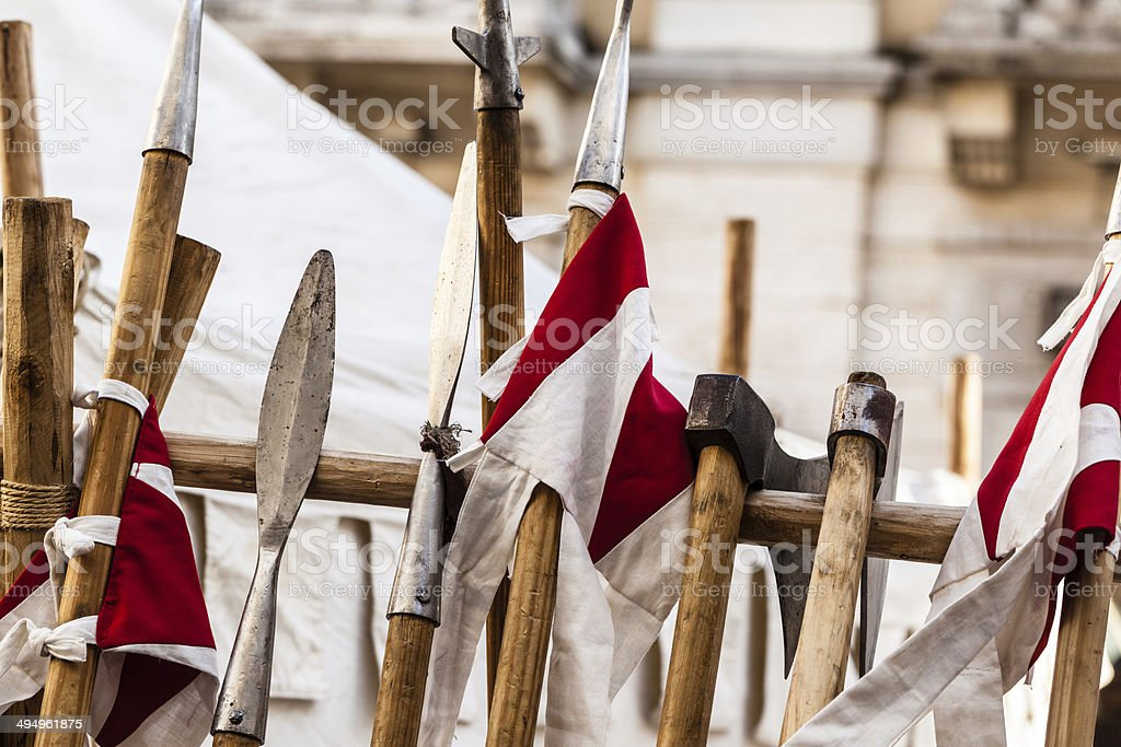 Medieval arsenal stock photo