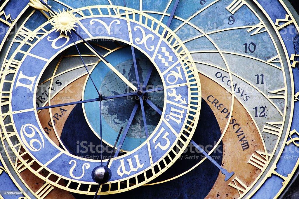 medieval astronomical clock located in Prague, Orloj stock photo