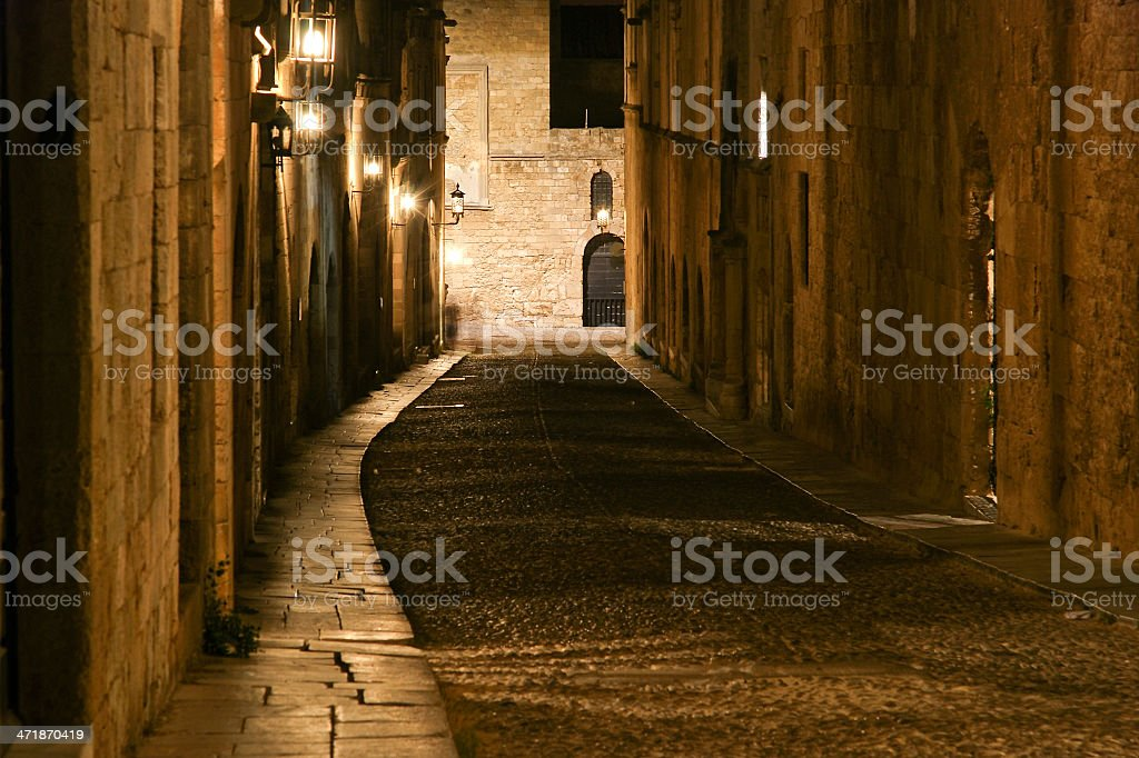 Medieval Avenue of the Knights at night, Rhodes Citadel , Greece royalty-free stock photo