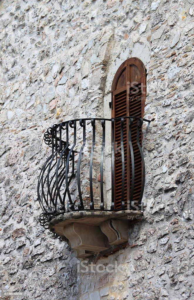 Medieval balcony stock photo