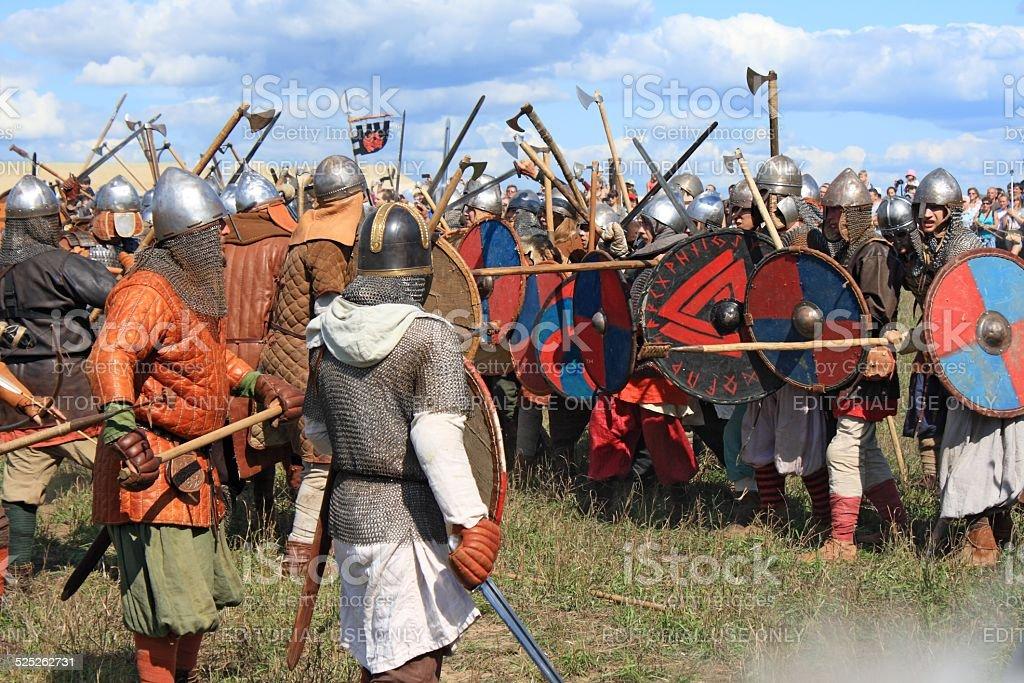 Medieval battle reconstruction Voinovo Pole (Warriors' Field), Drakino, Russia stock photo