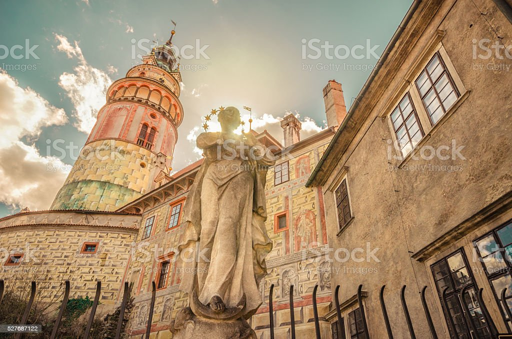 Medieval beauty in Czech Republic - Saint and pink tower stock photo