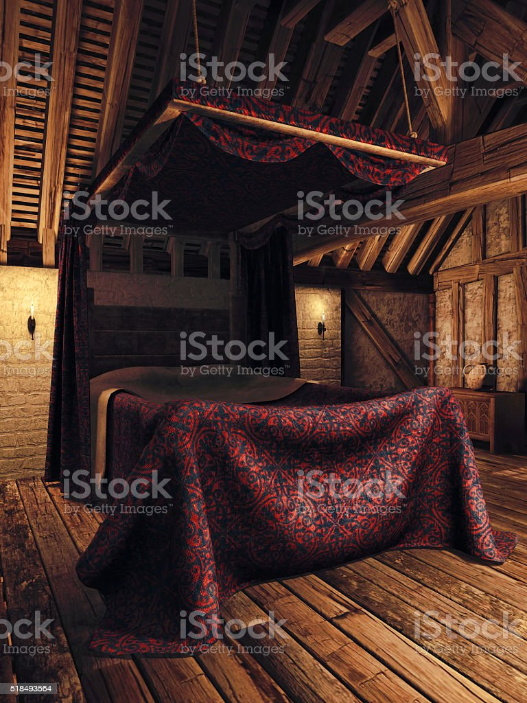 Medieval Bedroom With Candles Stock Photo U0026 More Pictures Of Bed   IStock