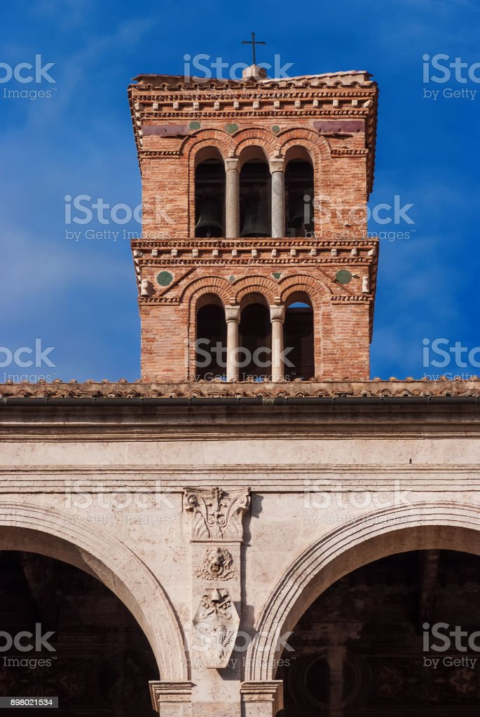Medieval belfry in Rome stock photo