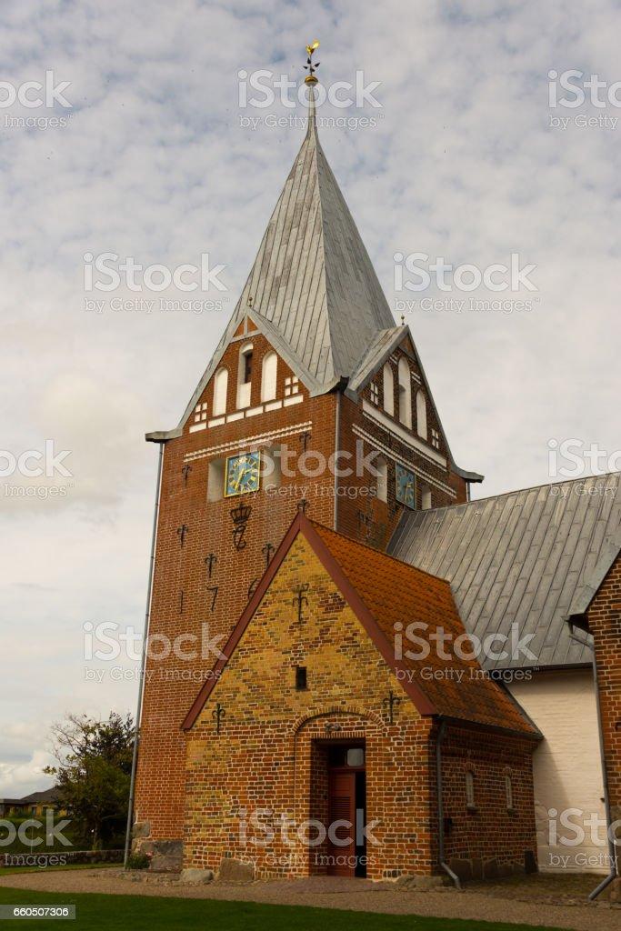 medieval brick church stock photo