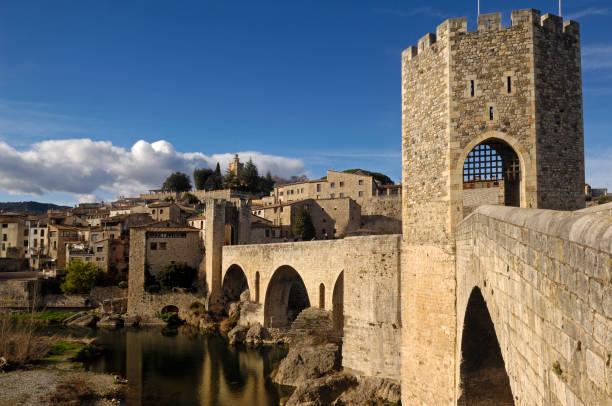 medieval bridge an village of Besalú in La Garrotxa, Girona, Spain stock photo