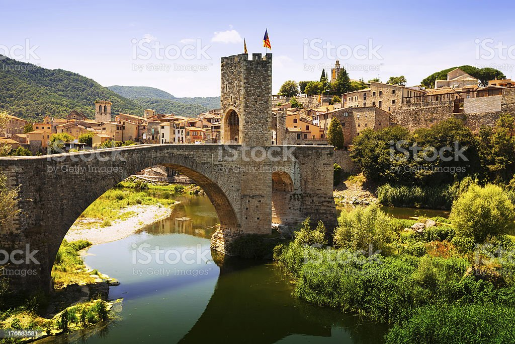 Medieval bridge with antique gate stock photo