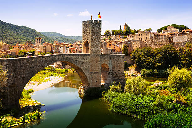 medieval bridge with antique gate - desolated stock pictures, royalty-free photos & images
